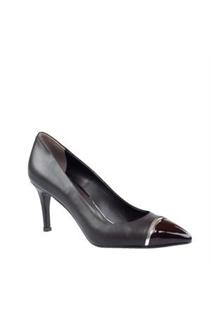 Cabani Şeritli Günlük Kadın Ayakkabı Kahve Rugan