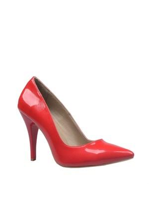 Cabani Topuklu Günlük Kadın Ayakkabı Kırmızı Deri