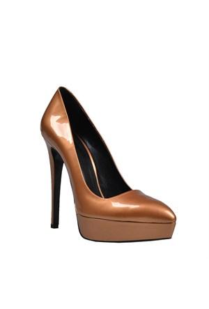 Cabani Topuklu Günlük Kadın Ayakkabı Altın Rengi Rugan