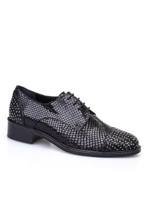 Cabani Yılan Baskı Günlük Kadın Ayakkabı Siyah Yılan Deri