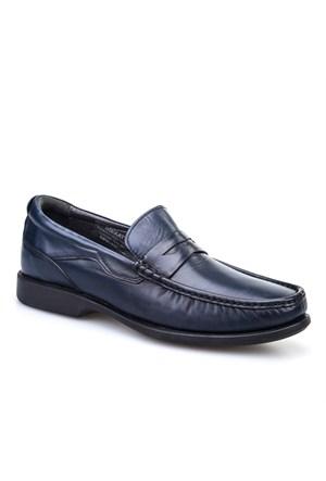 Cabani Kemerli Günlük Erkek Ayakkabı Lacivert Antik Deri