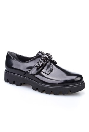 Crunell Taşlı Günlük Kadın Ayakkabı Siyah Rugan