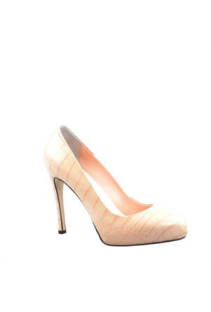 Cabani Topuklu Günlük Kadın Ayakkabı Bej Croco Deri