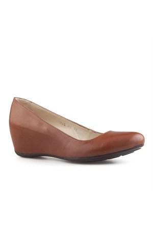 Cabani Dolgu Topuklu Günlük Kadın Ayakkabı Taba Soft Deri