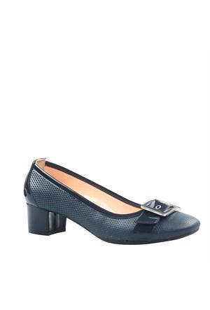 Cabani Topuklu Günlük Kadın Ayakkabı Lacivert Deri