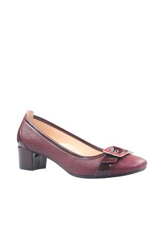 Cabani Topuklu Günlük Kadın Ayakkabı Bordo Deri