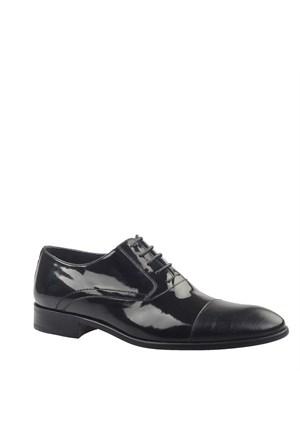 Croco Baskı Klasik Erkek Ayakkabı Siyah Rugan Cabani