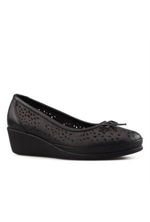 Cabani Fiyonklu Günlük Kadın Ayakkabı Siyah Deri