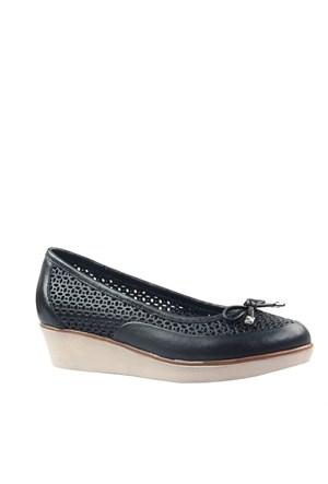 Cabani Comfort Günlük Kadın Babet Siyah Deri