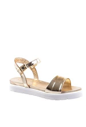 Cabani Kalın Bantlı Günlük Kadın Sandalet Altın Rengi Deri