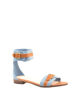 Cabani Bilekten Bağlamalı Günlük Kadın Sandalet Mavi Keten