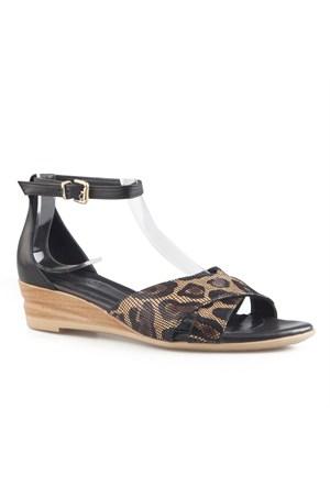 Cabani Leopar Desenli Günlük Kadın Sandalet Karışık Deri