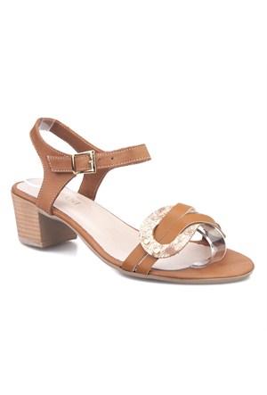 Cabani Topuklu Günlük Kadın Sandalet Taba Deri