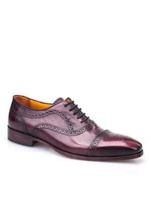 Rockford Lazerli Özel Seri Klasik Erkek Ayakkabı Bordo Analin Deri
