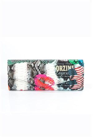 İroni Vintage Baskılı Pink Lip Çanta
