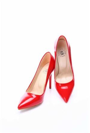 Shoes&Moda Kırmızı Rugan Kadın Stiletto Ayakkabı 509 6 Nz015205