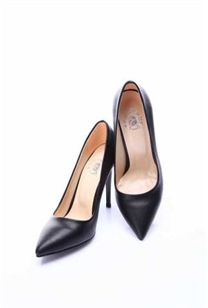 Shoes&Moda Siyah Cilt Kadın Stiletto Ayakkabı 509 6 Nz015709
