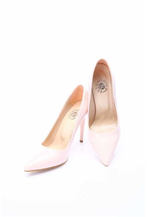 Shoes&Moda Pudra Rugan Kadın Stiletto Ayakkabı 509 6 Nz015ı02