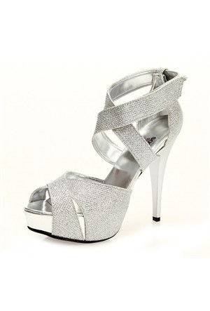 Sothe MAS-013 Gümüş Bayan Platformlu Ayakkabı