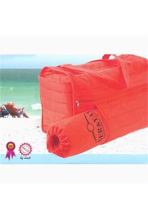Seryat Plaj Çantası (plaj Hasırı Ve Yastığı Hediyeli) Kırmızı