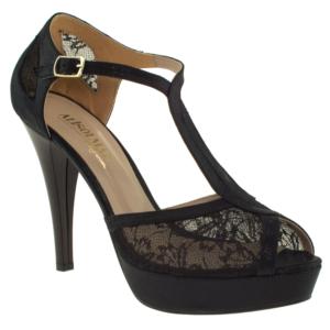 alisolmaz 0350 dantel beyaz kadın abiye ayakkabı - 40 - siyah