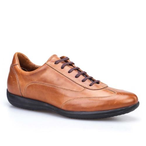 Cabani Bağcıklı Günlük Erkek Ayakkabı Taba Antik Deri
