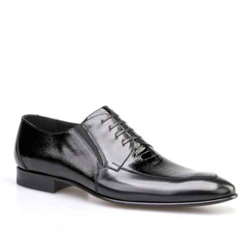 Cabani Lastikli Klasik Erkek Ayakkabı Siyah Açma Deri