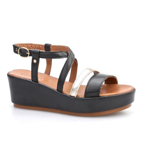 Cabani Tokalı Çapraz Bağ Günlük Kadın Sandalet Siyah Deri