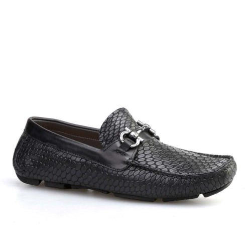 Cabani Yılan Baskı Günlük Erkek Ayakkabı Siyah Croco Deri