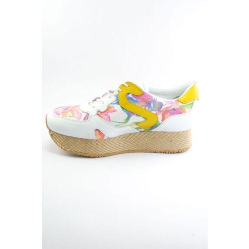 Sofistiqe Çiçek Desenli Deri Sneaker