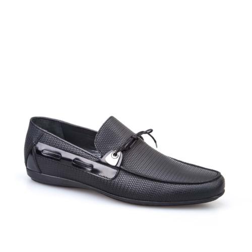 Cabani Bağcıklı Erkek Ayakkabı Siyah Baskılı Deri