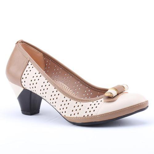 Ermod 2750 Günlük Lazer Kesim Fındık Kadın Topuklu Ayakkabı