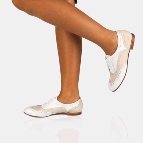 Modabuymus Hakiki Deri Beyaz Pudra Bayan Oxford Ayakkabı