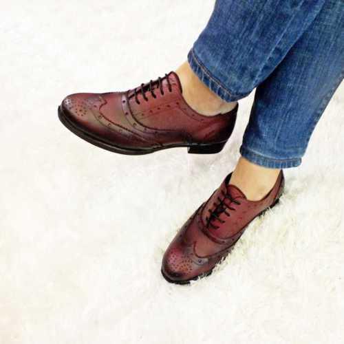 Modabuymus Bordo Oxford Gerçek Deri Bayan Ayakkabı