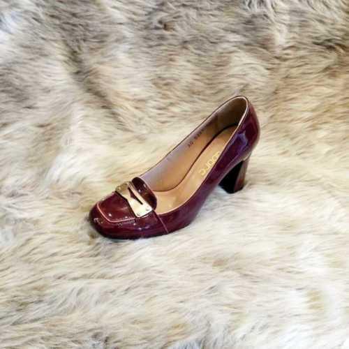 Modabuymus Bordo Rugan Deri Topuklu Tokalı Bayan Ayakkabı