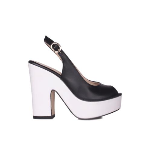 Loggalin Kadın Siyah Beyaz Platform Ayakkabı 520906 031 018