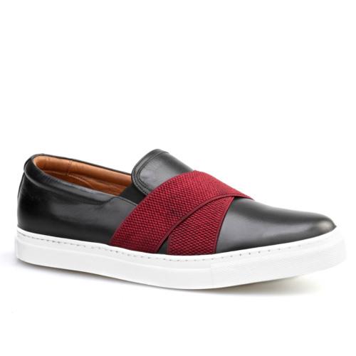 Cabani Kemerli Sneaker Erkek Ayakkabı Siyah Flap Deri