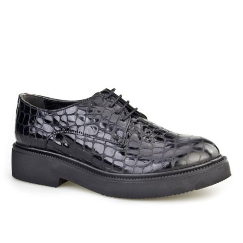 Cabani Croco Baskı Kadın Ayakkabı Siyah Croco Deri