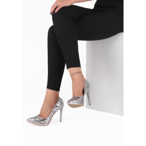 Erbilden Mar Gümüş Cilt Yılan Derisi Desenli Uzun Topuk Stiletto Ayakkabı