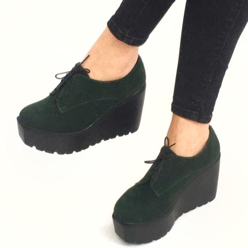 Mio Gusto Mio Gusto - Yeşil Süet Dolgu Topuk Bağcıklı Kadın Ayakkabı