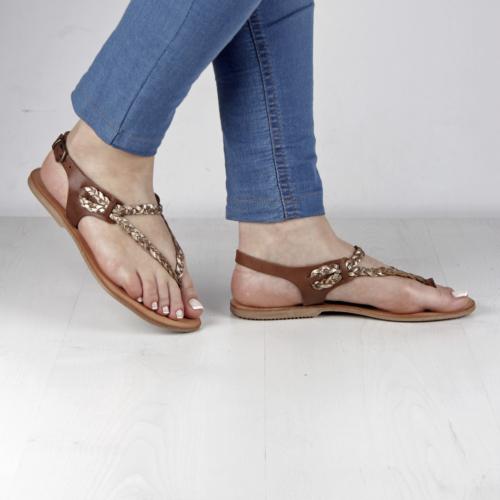 İnce Topuk Taba Hakiki Deri Bodrum Sandalet