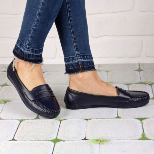 İnce Topuk Lacivert Loafer