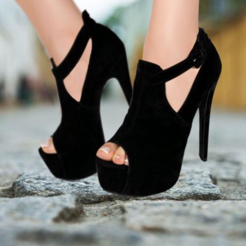 İnce Topuk Siyah Süet Burnu Açık Topuklu Platform Ayakkabı
