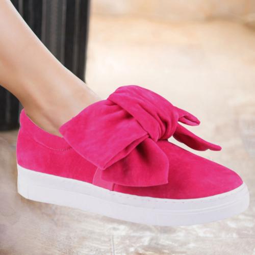 İnce Topuk Fuşya Süet Büyük Fiyonklu Sneaker Ayakkabı