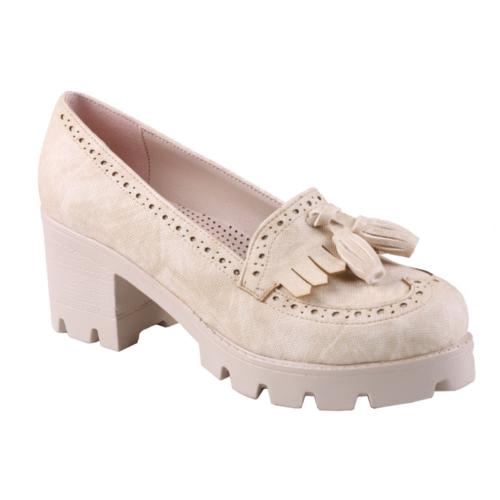 İnce Topuk Bej Kısa Topuklu Ayakkabı