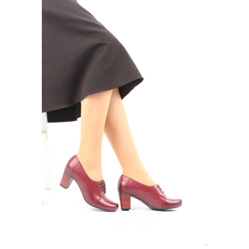 Gön 22287 Bordo Antik Deri Kadın Ayakkabı