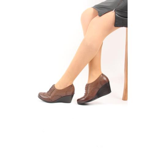 Gön Deri Kadın Ayakkabı 23146 Vizon Antik