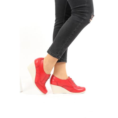Gön Deri Kadın Ayakkabı 23146 Kırmızı Antik