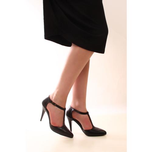 Gön 22012 Siyah Deri Kadın Ayakkabı