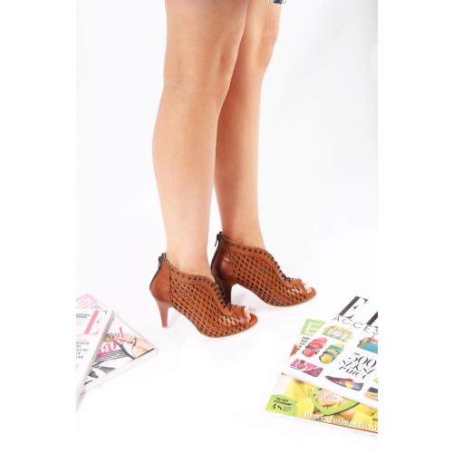 Gön 22286 Taba Antik Deri Kadın Ayakkabı